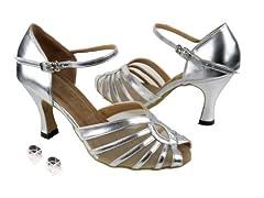 Very Fine Ladies Women Ballroom Dance Shoes EK2719 Silver Leather & Flesh Mesh 3