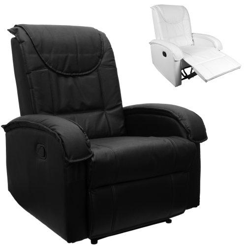 TV Sessel aus echtem Leder, Fernsehsessel, Relaxsessel, mit ausklappbarer Fußstütze, bequeme Polsterung, bis max. 200 kg, Farbe schwarz, Echtleder