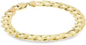 Klassics 10k Yellow Gold 11mm Curb Chain Men's Bracelet, 9