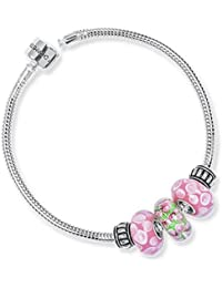 CharmsDay Girls Ready To Wear Pink, Green Garden Of Eden Bracelet With Assorted Charms In 925 Silver