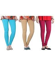 2Day Women's Cotton Turk/Beige/Fusia Churidaar Legging (Pack Of 3)