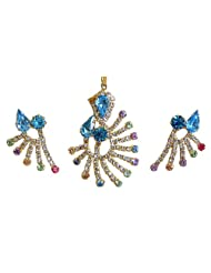 Cyan And White Zirconia Stone Studded And Gold Plated Designer Pendant And Earrings - Stone And Metal