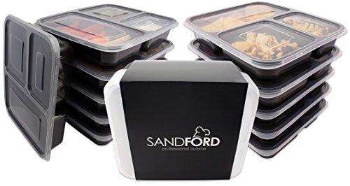 [ 11er Set ] Sandford PREMIUM Meal Prep Container | Lunchbox | Bento Box | Lebensmittelbehälter mit 3 Fächern & Deckel | Gesund & Sicher Mahlzeiten zubereiten, aufbewahren und jederzeit frisch essen