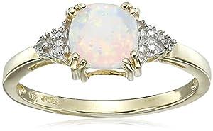 Amazon.com: 10k Yellow Gold, Created Opal, and Diamond