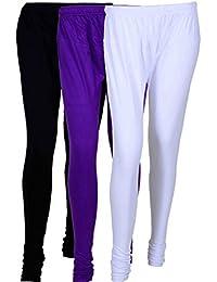 Cotton Leggings (Culture The Dignity Women's Cotton Leggings Combo Of 3_CTDCL_BVW_BLACK-VIOLET-WHITE_FREESIZE)