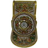 Generic Makrana Marble Mobile/Pen Stand With Clock (Golden)