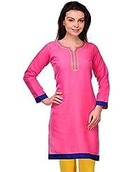 LizaFab Pink Color Cotton Fabric Women's Straight Kurti - B01LEMUMI2