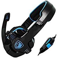 EastVita SA-708 Gaming Headset With Mic Remoter For Volume And Mic Over-Ear Headset Black Blue