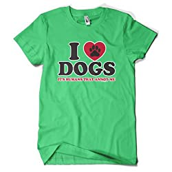 (Cybertela) I Love Dogs Its Humans That Annoy Me Mens T-shirt Animal Lover Tee