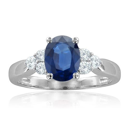 Diamond and Sapphire Engagement Ring in 14K White Gold 3 Stone Ring