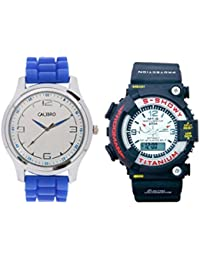 Calibro White-Blue Men's And White MTG 014 Watch- Pack Of 2