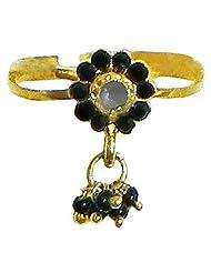 Black Stone Studded Jhalar Adjustable Ring - Stone And Metal