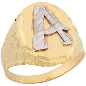 14k Two Tone Real Gold Diamond Cut Large Letter A Initial
