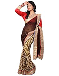 Alethia Multicolor Chiffon Casual Printed Sarees With Unstitched Blouse