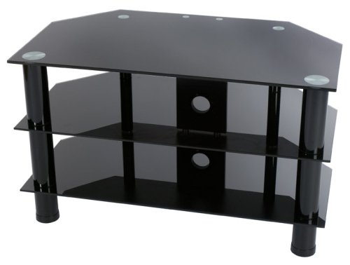 black glass tv stand Levv Glass Stand For Plasma & LCD TV Up to 37 inch or 40kg   Black  black glass tv stand