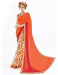 Inddus Exclusive Orange & Beige Colored Georgette Printed Saree