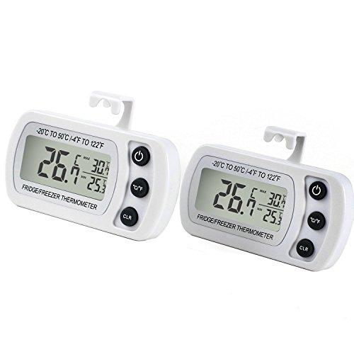 Thermomètre réfrigérateur, LCD Digital Thermomètre congélateur avec crochet, Plage de Mesures Etendue Allant de -20°C à +50°C (-4°F à +122°F) avec une...