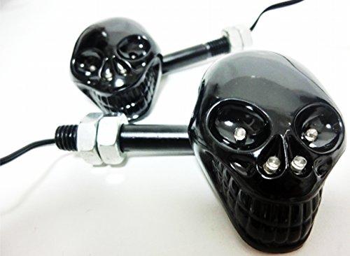 光れ! led  ドクロ ウィンカー かっこいい スカル フェイス ウインカー暗黒の ブラック タイプ 左右 2個 セット 汎用