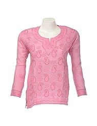 Lucknow Chikan Industry Women Cotton Chikankari Pink Round Neck Kurti - B00PS4Y3M4