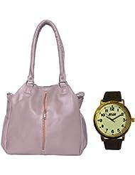 HnH Women HandBag + Watch Combo - Contemporary Grey Handbag + Antique Golden Watch - AHB1CGr-AW9AG