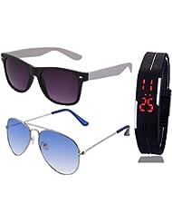 BLACK WHITE WAYFARER SUNGLASSES AND SILVER LIGHT BLUE AVIATOR SUNGLASSES WITH TPU BAND RED LED DIGITAL BLACK DIAL...
