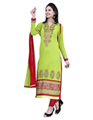 Surat Tex Green Color Casual Wear Embroidered Pure Georgette Semi-Stitched Salwar Suit