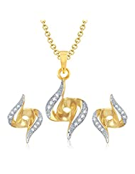 VK Jewels Amazing Gold And Rhodium Plated Pendant Set With Earrings - PS1015G [VKPS1015G]