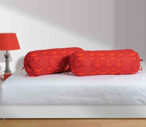 Swayam Drape And Dream Printed Cotton 2 Piece Bolster Cover Set - Magenta And Black (BCP02-2522 )