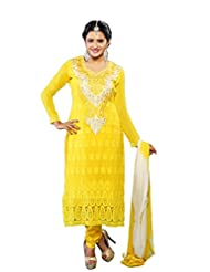 Vibes Fashionable Pure Georgette Unstiched Dress Materials,Free Size,Yellow,V188-1002D