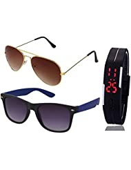 GOLDEN BROWN AVIATOR SUNGLASSES AND BLUE WAYFARER SUNGLASSES WITH TPU BAND RED LED DIGITAL BLACK DIAL UNISEX WATCH...