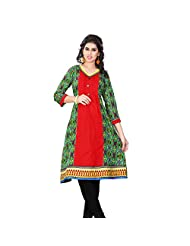Miss & Mrs Party Wear 3/4 Sleeve Printed Cotton Women's KurtiX-Large - B00XND4R8M