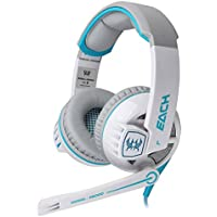 Niceeshop TM EACH G6000 PC Laptop 3.5mm Stereo Gaming Headset With Mic LED Light Blue White Blue White