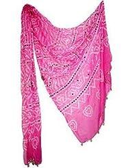 Famacart Women's Cotton Bandhej Pink Dupatta Party Wear Wrap