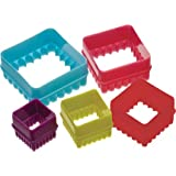KITCHENCRAFTASSORTED COLOURS SET OF 5 SQUARE SHAPE COOKIE CUTTER