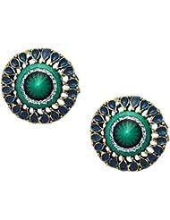 Crunchy Fashion Green Ethnic Alloy Stud Earring For Women