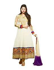 Surat Tex Cream Color Embroidered Georgette Semi-Stitched Anarkali