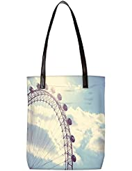 Snoogg Vintage Amusement Park Womens Digitally Printed Utility Tote Bag Handbag Made Of Poly Canvas With Leather...