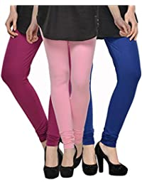 Kjaggs Women's Cotton Lycra Regular Fit Leggings Combo - Pack Of 3 (KTL-TP-18-19-14, Light Pink, Magneta, Royal...