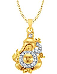 Amaal Ganesha Ganpati God Pendant With Chain For Men,Women Gold Plated In American Diamond Cz Jewellery GP0108