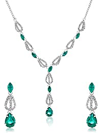 Oviya Silver Green Drops Necklace Set With Crystals For Women NL4101026R