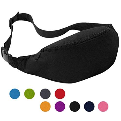 POTOJP 軽量 オックスフォード ウエストバッグ ユニセックス 運動ポケット 調節可 2L 9色選択可 (ブラック)