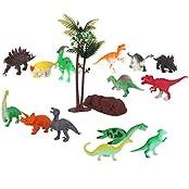 Generic Plastic Jurassic Dinosaur Tree Rock Model Set Toy Gift 16pcs Multi-color