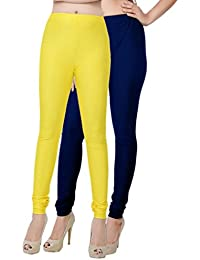 Fashion And Freedom Women's Pack Of 2 Yellow And Navy Satin Leggings