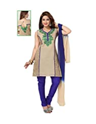 Idha Cream-Blue Straight Fit Chanderi Machine Embroidery Festive/Party Wear Readymade Salwar Suits | GC1092