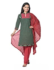 Green With Red Printed Cotton Salwar Suits