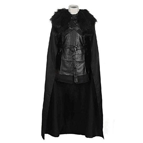 Mens Jon Snow Fur Cloak Cape & Waistcoat Outfit Costume for Halloween