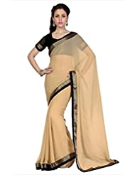 Designersareez Women Beige Faux Georgette Saree With Unstitched Blouse (1702)