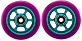 Metal Core 110mm Pro Scooter 2 Wheels with Abec 11 Bearings Installed Razor #ptp2 Purple on Teal MADE IN USA!