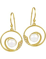 Exxotic 24k Gold Plated Silver White Pearl Circle Earring Gift For Girls & Women