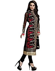 Bikaw Embroidered Black And Red Georgette Fashion Straight Fit Party Wear Semi-Stitched Suit. - SF396